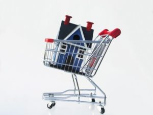 Miniature house in a shopping cart illustrating shopping for a home.