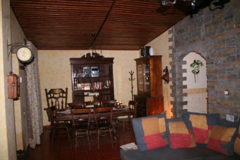 Salon 40 m2 con chimenea, paredes piedra y techos madera