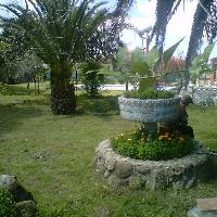 Casa con jardín, locales comerciales y restaurante.
